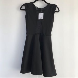 TOPSHOP PEPLUM DRESS WITH SHEER DETAILS